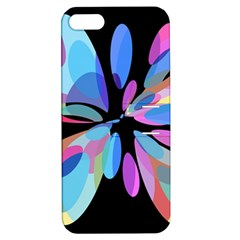 Blue abstract flower Apple iPhone 5 Hardshell Case with Stand