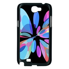 Blue abstract flower Samsung Galaxy Note 2 Case (Black)