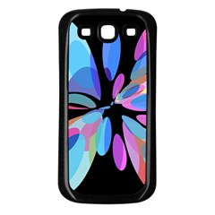 Blue abstract flower Samsung Galaxy S3 Back Case (Black)