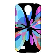 Blue abstract flower Samsung Galaxy S4 Classic Hardshell Case (PC+Silicone)