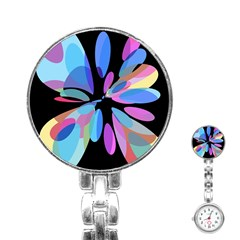 Blue abstract flower Stainless Steel Nurses Watch