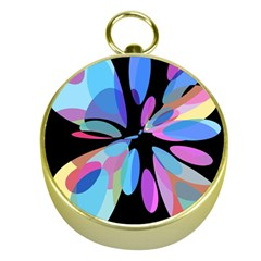 Blue abstract flower Gold Compasses
