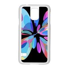 Blue abstract flower Samsung Galaxy S5 Case (White)