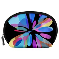 Blue abstract flower Accessory Pouches (Large)