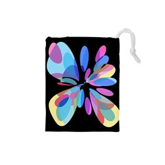 Blue abstract flower Drawstring Pouches (Small)