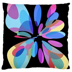 Blue abstract flower Large Flano Cushion Case (Two Sides)