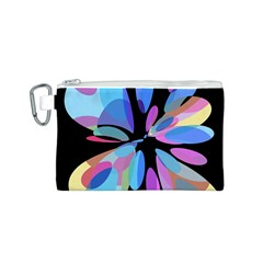 Blue abstract flower Canvas Cosmetic Bag (S)