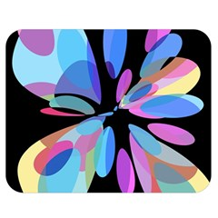 Blue abstract flower Double Sided Flano Blanket (Medium)