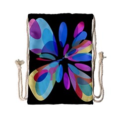 Blue abstract flower Drawstring Bag (Small)