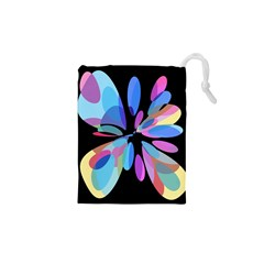 Blue abstract flower Drawstring Pouches (XS)