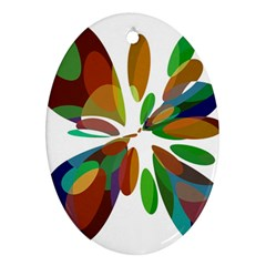 Colorful abstract flower Ornament (Oval)