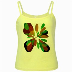 Colorful abstract flower Yellow Spaghetti Tank