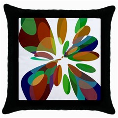 Colorful abstract flower Throw Pillow Case (Black)