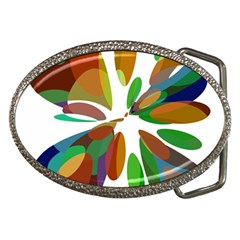 Colorful abstract flower Belt Buckles