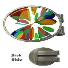 Colorful abstract flower Money Clips (Oval)