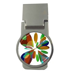 Colorful abstract flower Money Clips (Round)