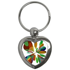 Colorful abstract flower Key Chains (Heart)