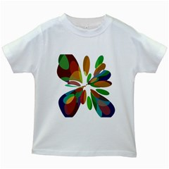 Colorful abstract flower Kids White T-Shirts