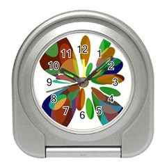 Colorful abstract flower Travel Alarm Clocks