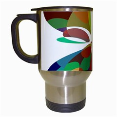 Colorful abstract flower Travel Mugs (White)