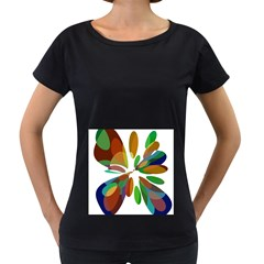 Colorful abstract flower Women s Loose-Fit T-Shirt (Black)