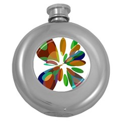 Colorful abstract flower Round Hip Flask (5 oz)