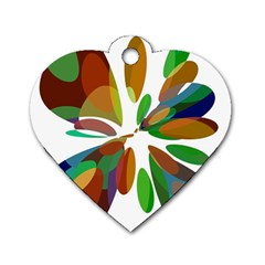 Colorful abstract flower Dog Tag Heart (One Side)