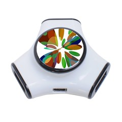 Colorful abstract flower 3-Port USB Hub