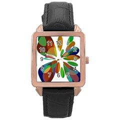 Colorful abstract flower Rose Gold Leather Watch