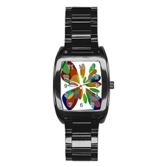 Colorful abstract flower Stainless Steel Barrel Watch