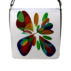 Colorful abstract flower Flap Messenger Bag (L)