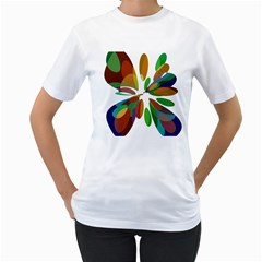Colorful abstract flower Women s T-Shirt (White)