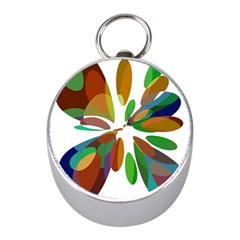 Colorful abstract flower Mini Silver Compasses