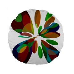 Colorful abstract flower Standard 15  Premium Flano Round Cushions