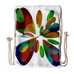 Colorful abstract flower Drawstring Bag (Large)