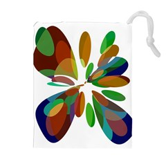 Colorful abstract flower Drawstring Pouches (Extra Large)