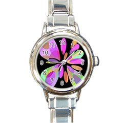 Pink abstract flower Round Italian Charm Watch