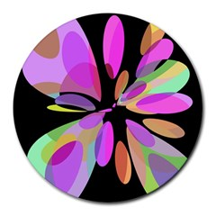 Pink abstract flower Round Mousepads