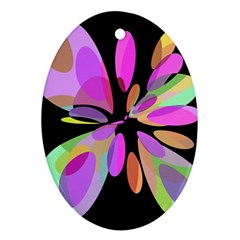 Pink abstract flower Ornament (Oval)