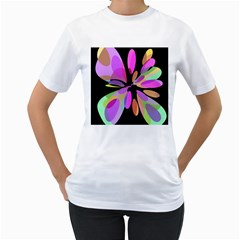 Pink abstract flower Women s T-Shirt (White) (Two Sided)