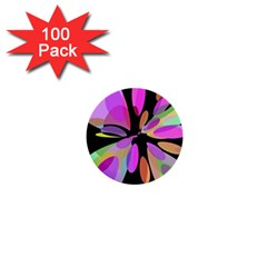 Pink abstract flower 1  Mini Buttons (100 pack)