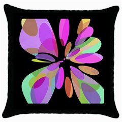 Pink abstract flower Throw Pillow Case (Black)