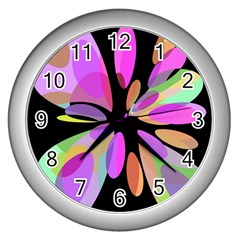 Pink abstract flower Wall Clocks (Silver)