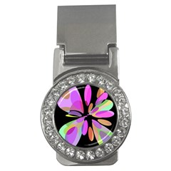 Pink abstract flower Money Clips (CZ)
