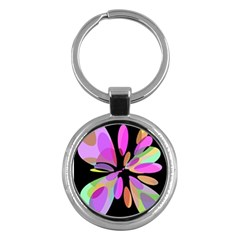 Pink abstract flower Key Chains (Round)