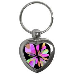 Pink abstract flower Key Chains (Heart)