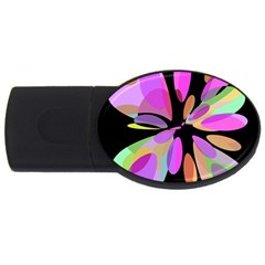 Pink abstract flower USB Flash Drive Oval (2 GB)