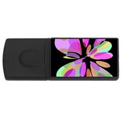 Pink abstract flower USB Flash Drive Rectangular (1 GB)