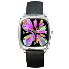 Pink abstract flower Square Metal Watch