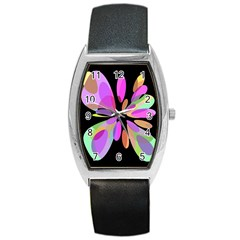 Pink abstract flower Barrel Style Metal Watch